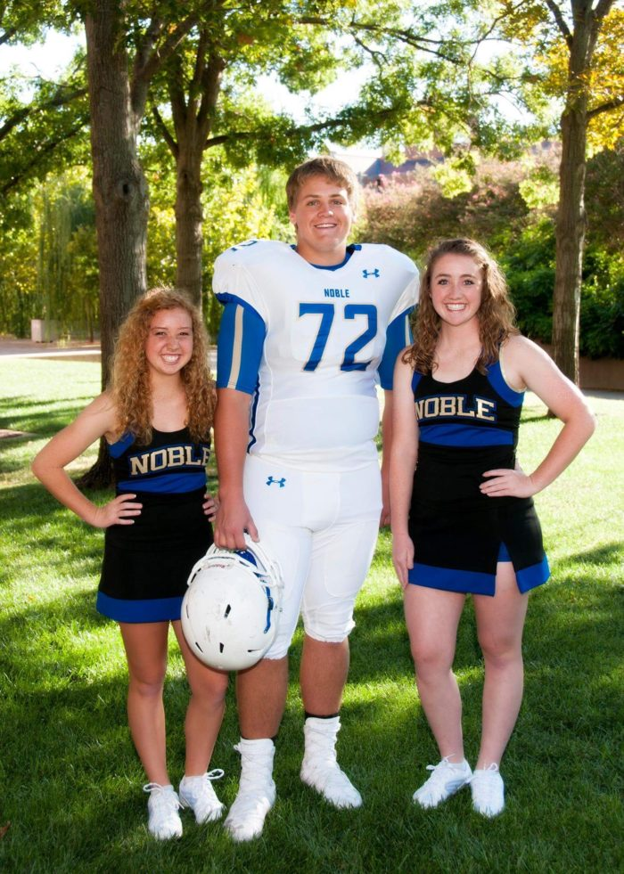 Senior year and his sweet cousins were cheering. Jacey, Madden and Kaylee.